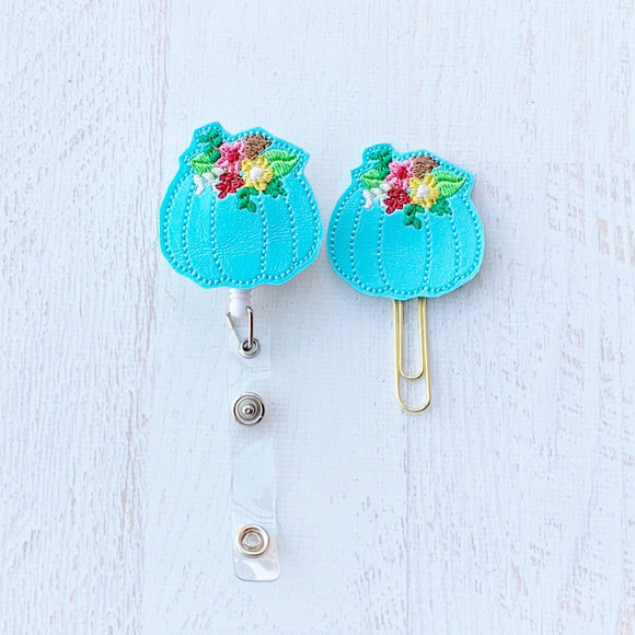 Fall Blue Floral Pumpkin Badge Reel, Planner Clip, ID Holder, Magnet, Brooch Pin, (1041)
