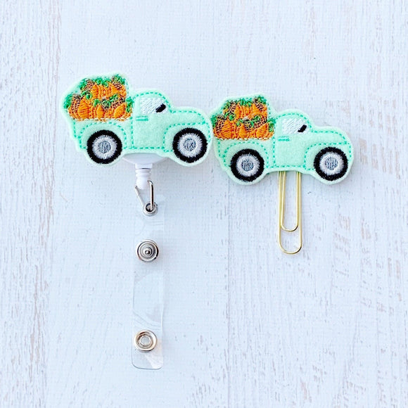 Fall Pumpkin Truck Badge Reel, Planner Clip, ID Holder, Magnet, Brooch Pin, (271)