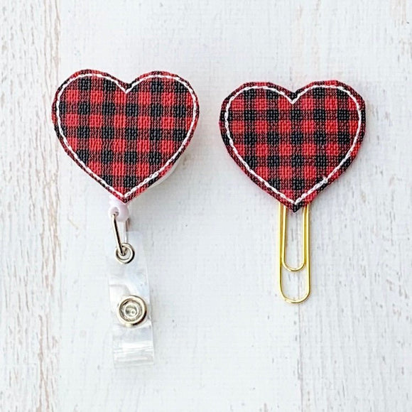 Red Black Buffalo Plaid Heart Badge Reel, Planner Clip, ID Holder, Magnet, Brooch Pin, (1109)