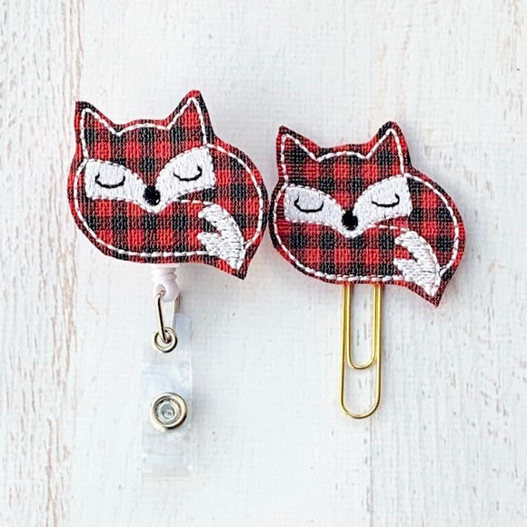 Plaid Fox Badge Reel, Planner Clip, ID Holder, Magnet, Brooch Pin,(1108)