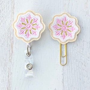 Christmas Pink Gold Sugar Cookie Badge Reel, Planner Clip, ID Holder, Magnet, Brooch Pin, (505)