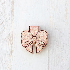 Rose Gold Glitter Magnetic Bow Clip, Magnetic Page Marker,(381)