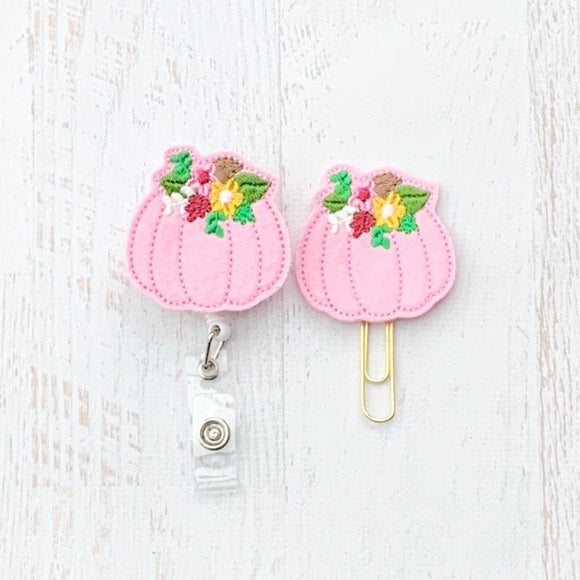 Fall Pink Pumpkin Badge Reel, Planner Clip, ID Holder, Magnet, Brooch Pin, (173)