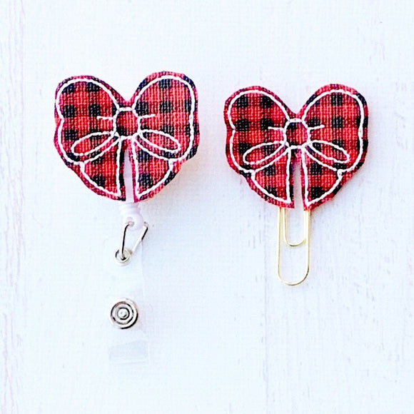 Red Black Buffalo Plaid Bow Badge Reel, Planner Clip, ID Holder, Magnet, Brooch Pin, (1105)