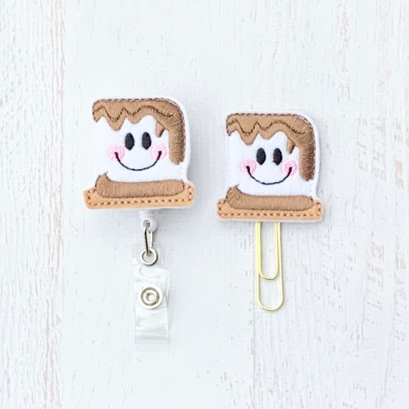 S'mores Badge Reel, Planner Clip, ID Holder, Magnet, Brooch Pin, (1300)