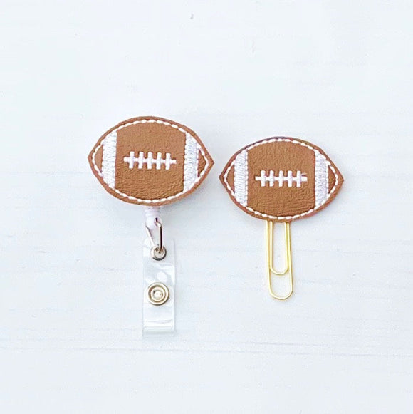 Football Badge Reel, Planner Clip, ID Holder, Magnet, Brooch Pin, (1312)