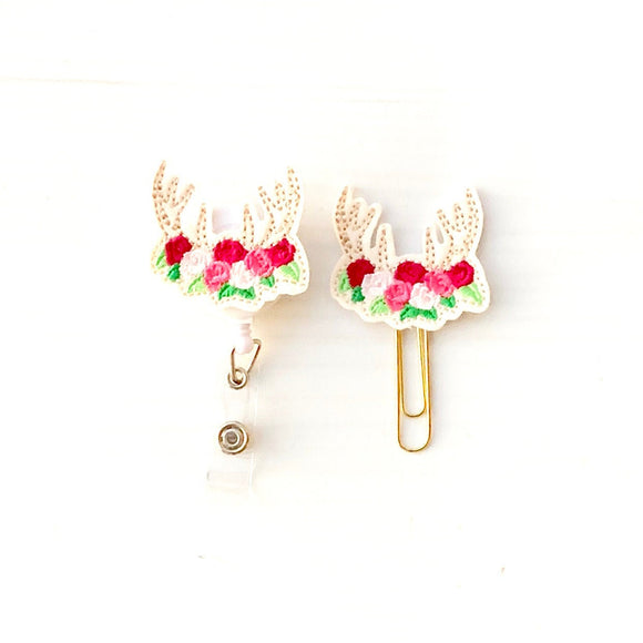 Floral Antlers Badge Reel, Planner Clip, ID Holder, Magnet, Brooch Pin, (1089)
