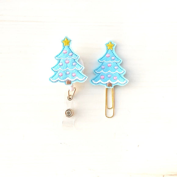 Blue Christmas Tree Badge Reel, Planner Clip, ID Holder, Magnet, Brooch Pin, (407)