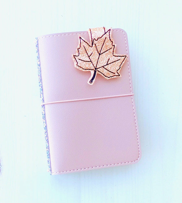 Rose Gold Glitter Magnetic Fall Leaf Clip, Magnetic Page Marker (13)