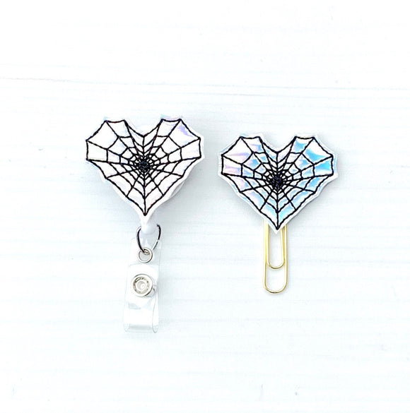 Halloween Holo Spider Web Heart Badge Reel, Planner Clip, ID Holder, Magnet, Brooch Pin, (395)