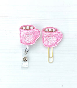 Pink Glitter Cocoa Cup Badge Reel, Planner Clip, ID Holder, Magnet, Brooch Pin, (19)