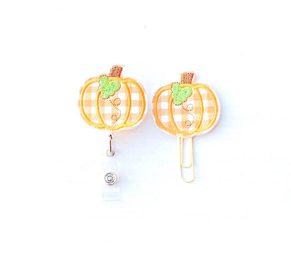 Fall Pumpkin Badge Reel, Planner Clip, ID Holder, Magnet, Brooch Pin, (680)