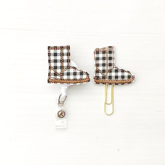 Plaid Winter Boot Badge Reel, Planner Clip, ID Holder, Magnet, Brooch Pin, (869)