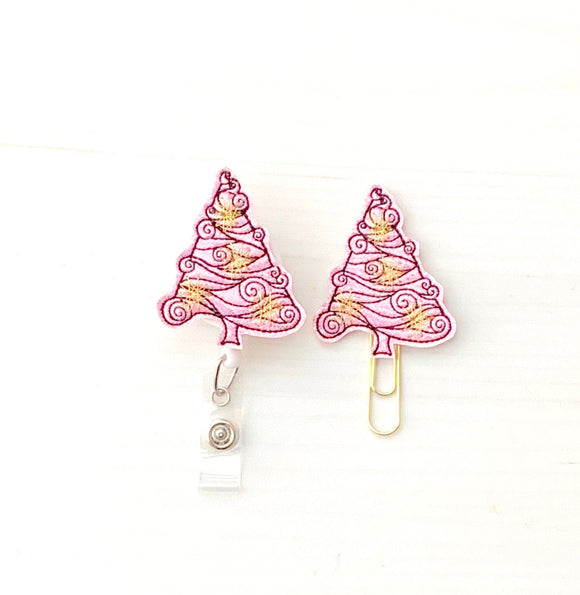 Pink Glitter Christmas TreeBadge Reel, Planner Clip, ID Holder, Magnet, Brooch Pin,