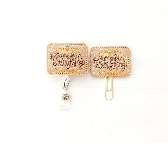 Fall Glitter Pumpkin Everything Badge Reel, Planner Clip, ID Holder, Magnet, Brooch Pin, (1196)