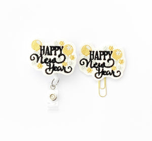 Glitter Happy New Year Badge Reel, Planner Clip, ID Holder, Magnet, Brooch Pin, (444)