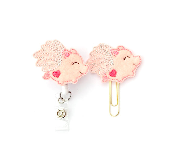 Flying Pig Piggy Badge Reel, Planner Clip, ID Holder, Magnet, Brooch Pin,