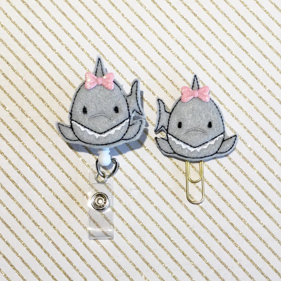 Shark Badge Reel, Planner Clip, ID Holder, Magnet, Brooch Pin, (548)