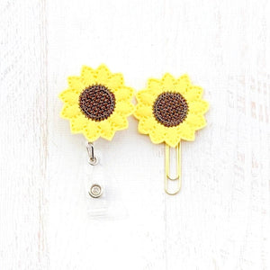 Sunflower Badge Reel, Planner Clip, ID Holder, Magnet, Brooch Pin, (1138)