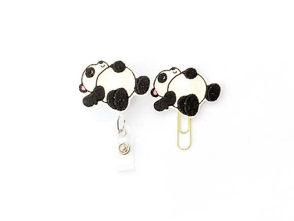 Glitter Sleepy Panda Badge Reel, Planner Clip, ID Holder, Magnet, Brooch Pin, (382)