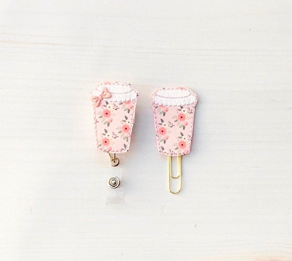Floral Coffee Cup Badge Reel, Planner Clip, ID Holder, Magnet, Brooch Pin, (682)