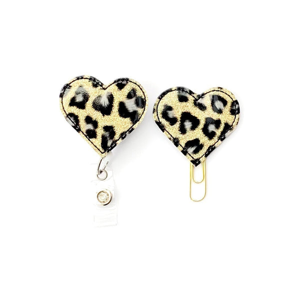 Leopard Heart Badge Reel, Planner Clip, ID Holder, Magnet, Brooch Pin, (809)