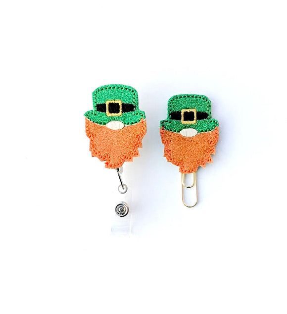 St Patricks Day Gnome Badge Reel, Planner Clip, ID Holder, Magnet, Brooch Pin, (707)