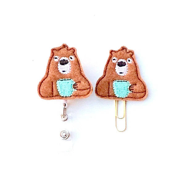 Bearly Awake Coffee Badge Reel, Planner Clip, ID Holder, Magnet, Brooch Pin, (1339)