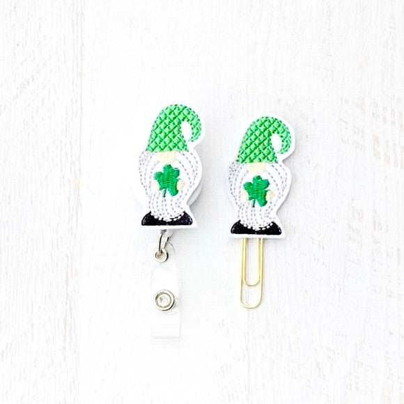St Patricks Day Shamrock Gnome Badge Reel, Planner Clip, ID Holder, Magnet, Brooch Pin, (187)