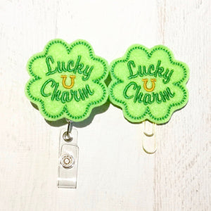 St Patricks Day Lucky Charm Clover Badge Reel, Planner Clip, ID Holder, Magnet, Brooch Pin, (986)