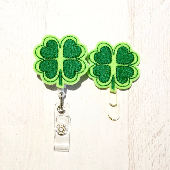 St Patricks Day Lucky Clover Badge Reel, Planner Clip, ID Holder, Magnet, Brooch Pin, (984)