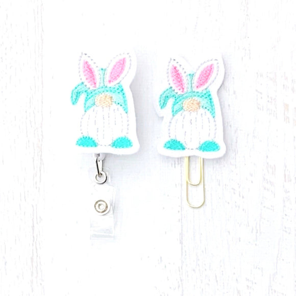 Easter Gnome Badge Reel, Planner Clip, ID Holder, Magnet, Brooch Pin, (1301)
