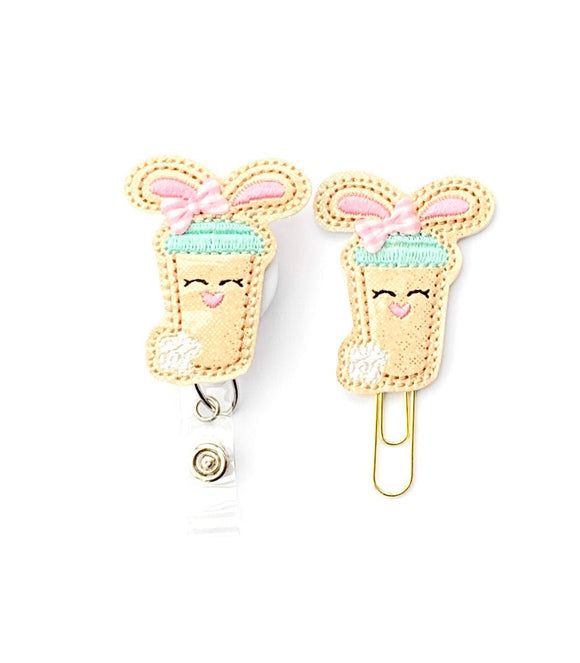 Glitter Easter Bunny Coffee Badge Reel, Planner Clip, ID Holder, Magnet, Brooch Pin,