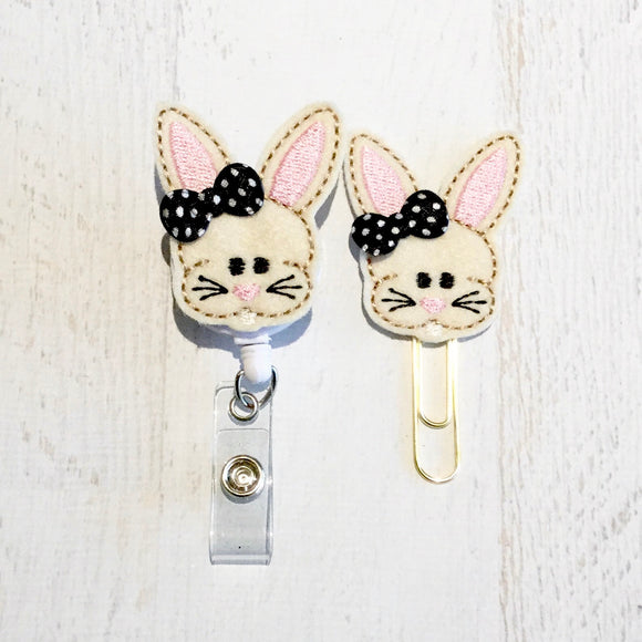 Easter Bunny Rabbit Badge Reel, Planner Clip, ID Holder, Magnet, Brooch Pin, (160)
