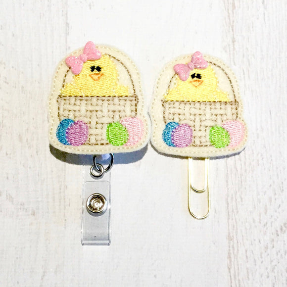 Easter Chick Badge Reel, Planner Clip, ID Holder, Magnet, Brooch Pin, (84)