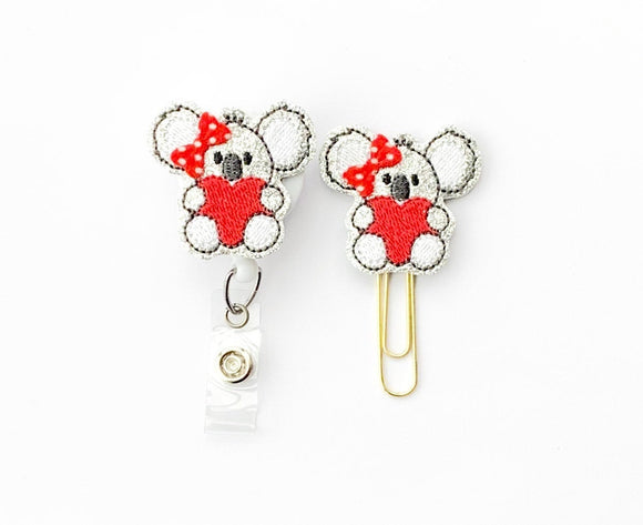 Glitter Valentine Koala Bear Badge Reel, Planner Clip, ID Holder, Magnet, Brooch Pin, (612)