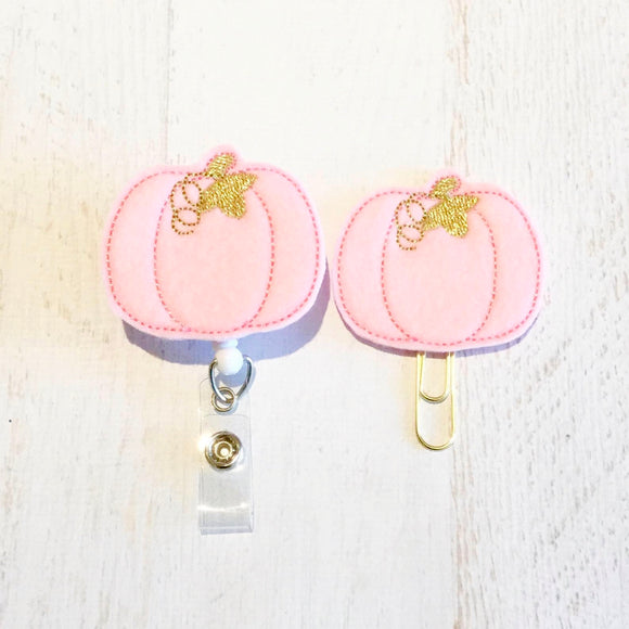 Fall Pink Pumpkin Badge Reel, Planner Clip, ID Holder, Magnet, Brooch Pin, (687)