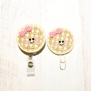 Waffle Badge Reel, Planner Clip, ID Holder, Magnet, Brooch Pin, (556)
