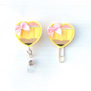 Heart Pencil Badge Reel, Planner Clip, ID Holder, Magnet, Brooch Pin, (436)