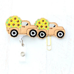 Fall Sunflower Truck Badge Reel, Planner Clip, ID Holder, Magnet, Brooch Pin, (1030)