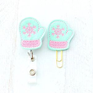 Mint Pink Winter Mittens Badge Reel, Planner Clip, ID Holder, Magnet, Brooch Pin, (843)