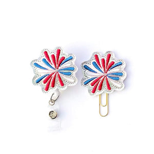 4th Of July Holo Fireworks Badge reel, Planner Clip, ID Holder, Magnet, Brooch Pin, (7)