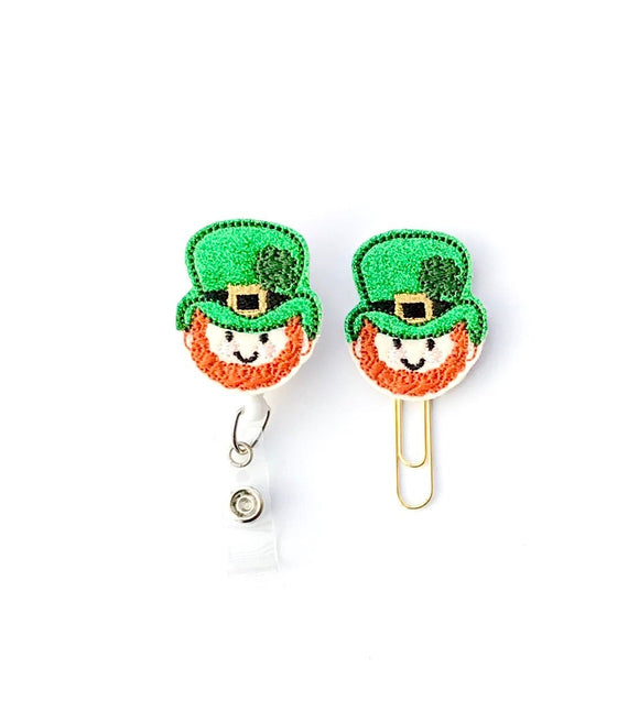 St Patricks Day Leprechaun Badge Reel, Planner Clip, ID Holder, Magnet, Brooch Pin, (1382)