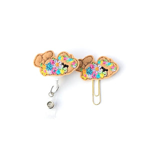 Spring Teddy Bear Badge Reel, Planner Clip, ID Holder, Magnet, Brooch Pin, (1389)