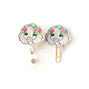 Elephant Badge Reel, Planner Clip, ID Holder, Magnet, Brooch Pin, (810)