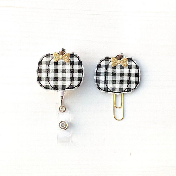 Fall Black White Plaid Pumpkin Badge Reel, Planner Clip, ID Holder, Magnet, Brooch Pin, (733)