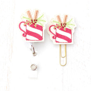 Christmas Hot Cocoa Badge Reel, Planner Clip, ID Holder, Magnet, Brooch Pin,(489)