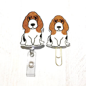 Basset Hound Dog Badge Reel, Planner Clip, ID Holder, Magnet, Brooch Pin, (1157)