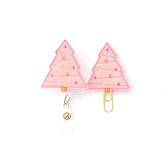 Pink Christmas Tree Badge Reel, Planner Clip, ID Holder, Magnet, Brooch Pin,