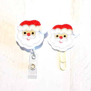 Christmas Santa Badge Reel, Planner Clip, ID Holder, Magnet, Brooch Pin, (1039)